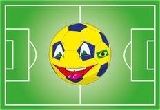 A bandeira brasileira colore a bola ilustração stock