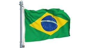 Bandeira brasileira que acena no fundo branco, animação rendição 3d ilustração stock
