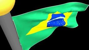 Bandeira brasileira que acena no fundo preto - vídeo da rendição 3D ilustração royalty free