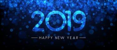 Bandeira brilhante azul do ano 2019 novo feliz ilustração stock