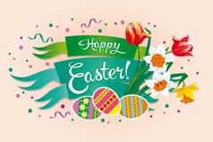 Bandeira brilhante da Páscoa com ovos e flores da mola ilustração do vetor