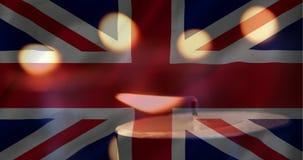 Bandeira britânica com a vela que sai video estoque