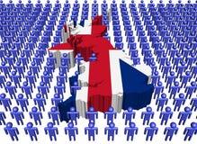 Bandeira BRITÂNICA do mapa com muitos povos ilustração stock