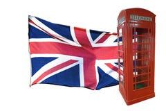 Bandeira britânica e caixa de telefone vermelha fotografia de stock royalty free