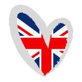 Bandeira BRITÂNICA em uma forma do coração ilustração stock