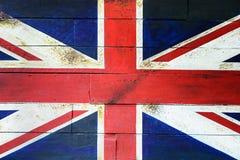 Bandeira BRITÂNICA na parede de madeira Foto de Stock