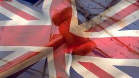 Bandeira BRITÂNICA com o martelo do juiz em documentos filme