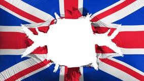 Bandeira BRITÂNICA de Reino Unido com um furo grande ilustração do vetor