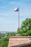 Bandeira checa no castelo de Spilberk, Brno, república checa Fotografia de Stock Royalty Free
