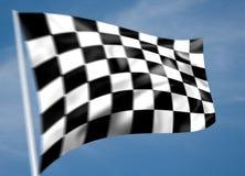 Bandeira chequered preto e branco Rippled Imagens de Stock Royalty Free