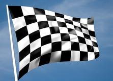 Bandeira chequered preto e branco Rippled Imagem de Stock Royalty Free