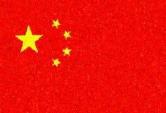 Bandeira chinesa com um teste padrão de florescência Fotos de Stock Royalty Free