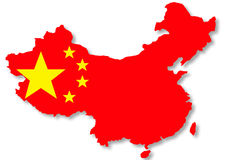 Bandeira chinesa na ilustração do mapa do país Fotografia de Stock