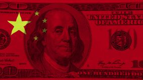 Bandeira chinesa no cem conta dos dólares americanos