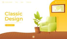 Bandeira clássica do design de interiores da casa da sala de visitas Conept do Web site da página da aterrissagem Poltrona confor Foto de Stock