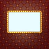 Bandeira clara de brilho quadro dourado retro com luzes de néon Imagens de Stock