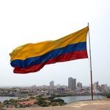 Bandeira colombiana sobre Cartagena Imagens de Stock