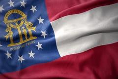 Bandeira colorida de ondulação do estado de Geórgia Imagens de Stock