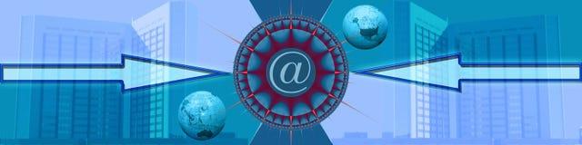 Bandeira: Comércio electrónico em torno do mundo Foto de Stock