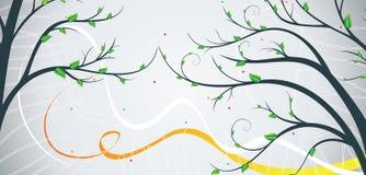 Bandeira com árvore Ilustração do Vetor