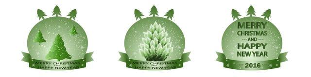 Bandeira com as árvores de Natal no fundo verde Fotografia de Stock