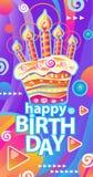 Bandeira com bolo e velas de aniversário ilustração royalty free