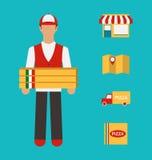 Bandeira com entrega da pizza, serviço perfeito Fotografia de Stock