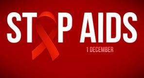 Bandeira com a fita vermelha realística Símbolo do aidswith da parada do cartaz para o Dia Mundial do Sida, o 1º de dezembro Veto ilustração do vetor