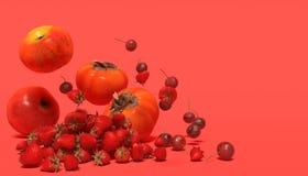 Bandeira com frutos vermelhos em um fundo vermelho com espaço livre para o texto Composição das maçãs, da morango, das cerejas e  fotografia de stock royalty free