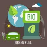 Bandeira com a imagem da eco-máquina e da terra do planeta Ilustração do vetor Imagens de Stock