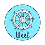 Bandeira com a inscrição que descreve a roda do navio s ilustração do vetor