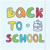 A bandeira com inscrição tirada mão de volta à escola e a garatuja backpack ilustração stock