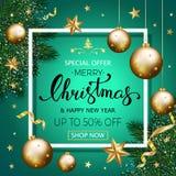 Bandeira com os ramos do pinho decorados, ouro s da venda do Feliz Natal Imagem de Stock Royalty Free