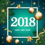 Bandeira 2018 com os ramos do pinho decorados, st do ano novo feliz do ouro Fotografia de Stock