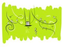 Bandeira com pássaros e os gatos engraçados para seu projeto Imagens de Stock Royalty Free
