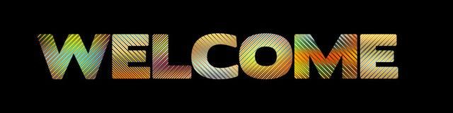 Bandeira com palavra listrada do ` da boa vinda do ` no preto Vetor Fotos de Stock Royalty Free