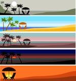 Bandeira com por do sol Imagens de Stock Royalty Free