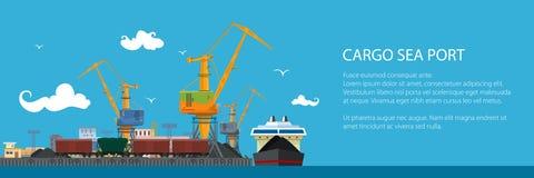 Bandeira com porto da carga ilustração stock