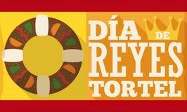 Bandeira com Tortell e coroa para o ` espanhol de Dia de Reyes do `, ilustração do vetor ilustração royalty free