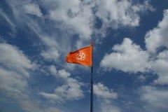 Bandeira com um sinal OM ou Aum foto de stock