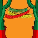 Bandeira com uma festão de pimentas encarnados das pimentas, as verdes e as amarelas Fotografia de Stock Royalty Free