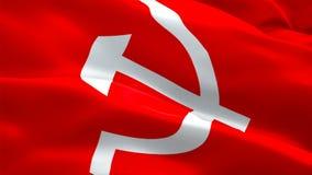 Bandeira comunista que acena nas imagens de vídeo HD completo do vento Fundo comunista realístico da bandeira Close up dando laço ilustração do vetor