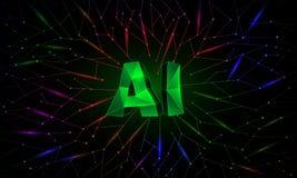Bandeira conceptual da inteligência artificial com redes neurais do polígono no fundo ilustração royalty free