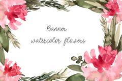 Bandeira, convite com aquarela das flores ilustração stock