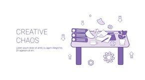 Bandeira criativa da Web do molde do conceito do processo da faculdade criadora do caos com espaço da cópia ilustração stock