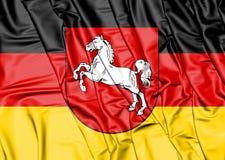 bandeira 3D de Baixa Saxónia, Alemanha Fotos de Stock