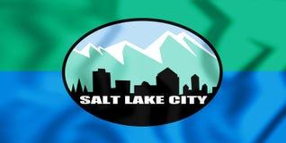 bandeira 3D de Salt Lake City Utá, EUA ilustração 3D Fotografia de Stock