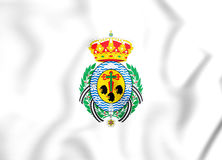 bandeira 3D de Santa Cruz de Tenerife City, Espanha Fotos de Stock Royalty Free