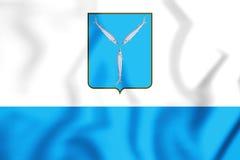 bandeira 3D de Saratov, Rússia Imagens de Stock