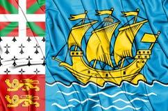 bandeira 3D de St Pierre-miquelon, França Imagens de Stock Royalty Free